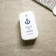 Nautical Theme in Navy Blue Personalized Gift Tags - Favor Tags - Thank you - Hang tags - Wedding Gift Tags - Set of 40 (Item code: J307). $15.00, via Etsy.