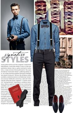 Suspenders  Bow Ties by the-kwas on PolyvoreMen's Fashion Tips From the 1920s / TRANSIT pinstripe trouser / JACK  JONES One SCO Austin Shirt, $66 / Bonobos Melbourne Bowtie / Paul Parkman Mens Navy Hand Burnished Brogue Oxford Shoes - Leather / Alexander Olch Velvet Suspenders / J.Crew Silk bow tie in vintage navy stripe