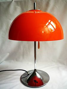 VINTAGE 60s 70s ORANGE CHROME MUSHROOM LAMP LIGHT PANTON GUZZINI SPACE AGE