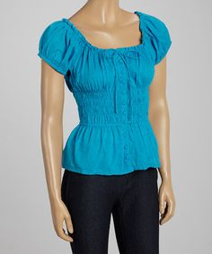 Look at this #zulilyfind! Turquoise Button-Up Peasant Top by Indian Tropical Fashions #zulilyfinds