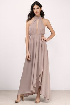 The At the Top Maxi Dress features a font and back keyhole with a collared back botton closure. Cascade front slit for a feminine flowy body. Taupe Maxi Dress, Backless Maxi Dresses, Maxi Dress With Sleeves, Prom Dresses, Graduation Dresses, Taupe Bridesmaid, Beautiful Dresses, Nice Dresses, Formal Dresses Online
