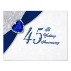 Damask 45th Wedding Anniversary Invitation