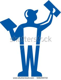 Illustration of a plasterer masonry tradesman construction worker holding trowel plastering viewed from rear set on isolated white background done in retro style.  #plasterer #retro #illustration