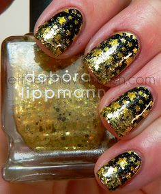 Gold and black, China Glaze Midnight Kiss, CG Lighthouse, Konad stamp, Deborah Lippmann Boom Boom Pow, INM Northern Lights