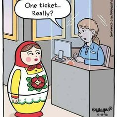 Funny Russian Doll Buying Ticket Cartoon Joke Picture - One ticket. Funny Cute, Really Funny, Funny Posts, Hilarious, Funny Stuff, Funny Things, Memes Humor, Funny Memes, Hilarious Pictures