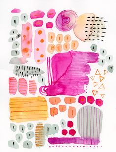 Pink, Orange & Grey Composition, Abstract Watercolor Paiting, Abstract Art, Modern Watercolor, Original Watercolor painting by KlikaBoutique on Etsy