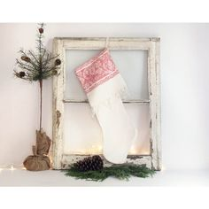 Vintage Damask Christmas Stocking, White and Red Christmas Stocking,... (48 CAD) ❤ liked on Polyvore featuring home, home decor, holiday decorations, damask home decor, red and white christmas stockings and linen christmas stockings