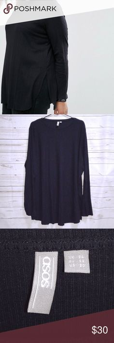 """ASOS CURVE Black Side Splits Tunic Top ASOS CURVE Women's Black Tunic Top Side Splits Curve Hem Long Sleeve Size 20 NWT Measurements: Pit to Pit 27"""" Length 33"""" Sleeve Length 26"""" Condition: New with Tags ASOS Curve Tops Tunics"""