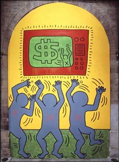 The Ten Commandments 5, 1985 Acrylic, oil on canvas 17.5 x 25 feet Read an interview between Keith Haring and Sylvie Couderc about The Ten Commandments: http://www.haring.com/archives/interviews/index.html