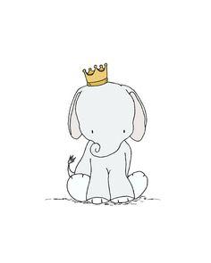 Elephant Nursery Art Print Little Crowned by SweetMelodyDesigns