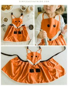 Have a little helper in the kitchen who needs their own apron? This adorable fox apron tutorial and pattern from Simple as That will do just the trick. With bright colors and fun design, any kid will be excited to wear this apron. Sewing Aprons, Sewing Clothes, Diy Clothes, Sewing Jeans, Barbie Clothes, Sewing Hacks, Sewing Tutorials, Sewing Crafts, Beginners Sewing