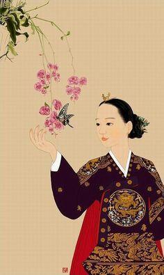 Korean Beauty by Boot Jil Korean Traditional Dress, Traditional Art, Traditional Outfits, Korean Art, Asian Art, Creative Pictures, Art Pictures, Geisha, Korean Illustration