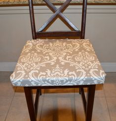 Grey with white fabric seat cushion cover by BrittaLeighDesigns