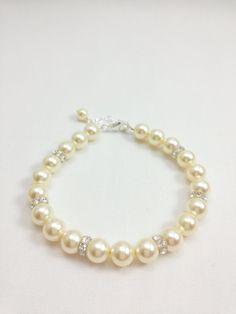 Bridal Jewelry Pearl Bracelet Pearl Bridal Bracelet Handmade by Amanda Badgley Designs   Bridal Boutique {Bride and Bridesmaids Jewelry}