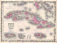 1862 JOHNSON MAP CUBA AND PORTO RICO VINTAGE POSTER AFFICHE ART PRINT 12×16 inch 30x40cm 2933PY: Taille 30.5cm x 40.6 cm (12 x 16 pouces)…