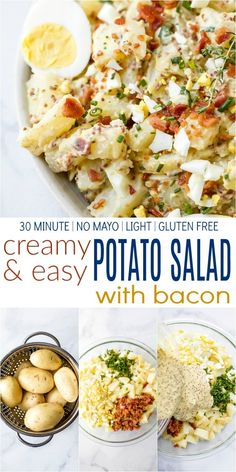 This lightCreamy Easy Potato Salad Recipe is one of the best I've ever tasted! A simple healthy potato saladfilled with bacon, hardboiled eggs, fresh chives and a creamy mustard sauce made with greek yogurt - the perfect side dish for those summer bbq parties! #summerrecipes #july4th #potatoes #glutenfree
