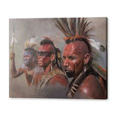 portrait sketches of three Mohawk Indians painted for a client who asked for the fine native american actor Wes Studi to be depicted.This painting was to appear in a magazine article but eventually was not used, hence the sale. Native American Actors, Native American Warrior, Native American Pictures, American Indians, Westerns, Mohawk Indians, Mohawk Warrior, Woodland Indians, Arte Tribal