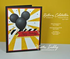 Stampin Up Balloon Celebration Mickey Mouse card from the 2016 Occasions Catalog Up Balloons, Birthday Balloons, Disney Scrapbook, Scrapbook Cards, Scrapbooking, Disney Cards, Kids Birthday Cards, Balloon Bouquet, Card Tags