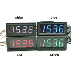 """0.56"""" Digital 5~60v Voltmeter Temperature Clock DIY for Automative usage with green color,double temperature,1.5m+3m #Affiliate"""