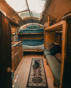 This snug tiny home Bus Living, Tiny House Living, Cozy House, Living On A Boat, Gypsy Living, Cozy Cabin, Living Rooms, School Bus Camper, School Bus House