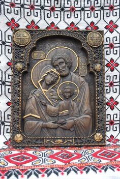 """Massive Wooden carved religious Icon """" Holy family """" Nativity wooden icon Mother Mary wood carving religious icon icon family presents Ukraine religious gift natural material Nativity Holy Family 65.00 USD #goriani"""