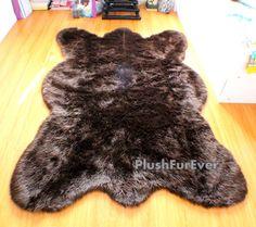 4' x 6' Clearance!!! SAVES 40 Dollars/ Big brown bear faux fur rug chocolate bearskin rug plush thick flokati rug shag area rug shaggy fur