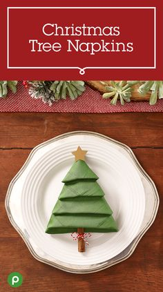 Setting the table shouldn't be a chore. It should be a tradition. Make a new one this year with this Publix craft idea for Christmas Tree Napkins. See how to fold a green napkin into a Christmas tree topped with a paper star.