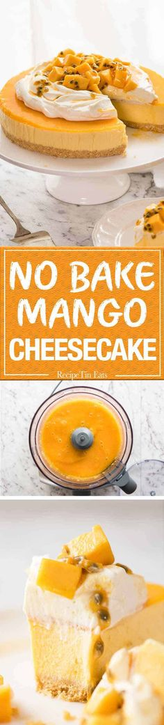 awesome This No Bake Mango Cheesecake is a complete and utter celebration of summer! Read More by rgum. No Bake Desserts, Just Desserts, Delicious Desserts, Dessert Recipes, Yummy Food, Mango Cheesecake, Cheesecake Recipes, Passionfruit Cheesecake, Cheesecake Bars