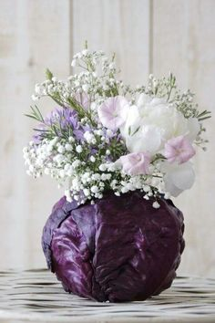 Thanksgiving flower arrangements garden ideas 7 - Creative Maxx Ideas I have used purple cabbage leaves before with floral foam in the center. Instead of using the cabbage once, peel off a few leaves and secure them to the floral foam. Beautiful Flower Arrangements, Fresh Flowers, Floral Arrangements, Beautiful Flowers, Diy Flowers, Flower Ideas, Purple Flowers, Lotus Flowers, Table Flowers