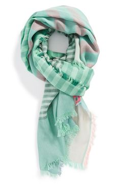 Sun-washed green stripes bring the warmth of summer to this Marc Jacobs scarf.