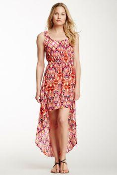 Hi-Lo Printed Maxi Dress