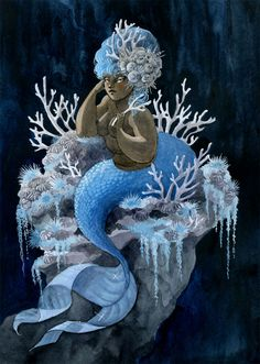 This Antler Coral Mermaid is a companion piece to the Pink and Pearls Mermaid from a couple weeks ago.