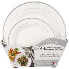 Masterpiece Plastic Plate Combo Pack, Large and Small, 48 Count - $25.31 (I love the way these look, but are they too cheap feeling?) #wedding #serveware #tablescape #reception
