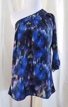 910dc934067 Delicia Top Size Med One Shoulder Blue Multicolor Patterned Abstract  Clearance. Cute Clothes ...