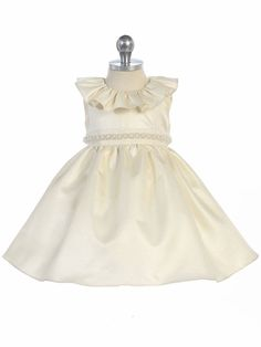 Ivory Ruffle Neckline Fit & Flare Baby Dress Ivory Flower Girl Dresses, Satin Dresses, Girls Dresses, Pearl Dress, Dresses For Less, Girl Tips, Baby Dress, Fit And Flare, Fashion Dresses