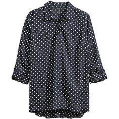 H&M Woven blouse ($20) ❤ liked on Polyvore featuring tops, blouses, shirts, h&m, dark blue, button shirts, long sleeve shirts, rayon blouse, tailored shirts and button blouse
