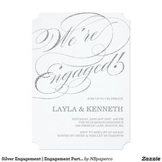 Silver Engagement | Engagement Party Invitation | Beautiful wedding invitations! Shop the hundreds of wedding and bridal shower invitation designs on Zazzle, where you can completely customize them! Unique designs made for the unique bride - boho, bohemian, whimsical, rustic, vintage, romantic, fun, lingerie shower, unique, colorful, pastel, custom, glitter, pink, floral, watercolor, tea party, brunch and bubbly, modern, classic, chic - the possibilities are endless!