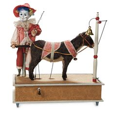 """The Lifelong Collection of Berta Leon Hackney: 48 An All-Original German Musical Handwind Mechanical Toy """"The Clown and Donkey"""""""