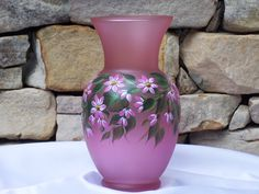 Hand Painted Pink Glass Vase with Pink Cascading by NaturesPetals, $30.00