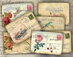 Old Post Card  digital collage sheet  set of 8  by bydigitalpaper