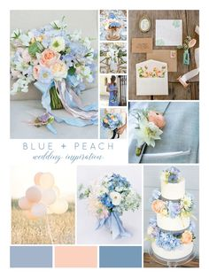 This peach and blue color palette is uniquely stunning! Perfect for florals, this color scheme is also ideal for decor, paper goods and bridesmaids dresses. Check out all the ways you can incorporate these colors into your own wedding day!images via Pinterest