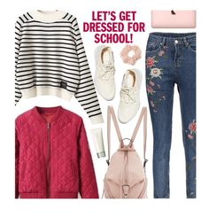 """""""School"""" by beebeely-look ❤ liked on Polyvore featuring Rebecca Minkoff, Forever 21, SUQQU, BackToSchool, stripes, schoolstyle, sammydress and embroideredjeans"""