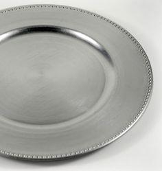 "Charger Plates Silver   Beaded Edge  Acrylic 13""    $2.99 each / 6 for $2.10 each"