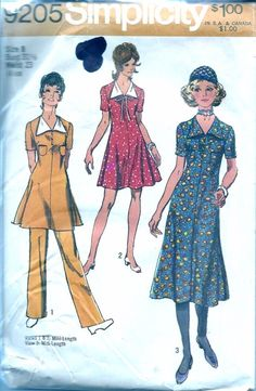 Vintage Sewing Pattern 9205 Dress Pants 1970 Bust 31 1/2 Waist 23  Misses Dress in two lengths and Pants. Mini & Midi length dresses.  Please zoom in