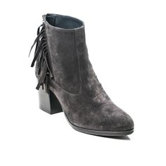Fringe gray ankle mid-heel boots in extended women's size 9,10,11,12,13,14. European high quality comfort in your size