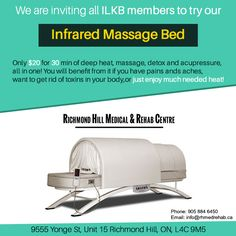 We are inviting all ILKB members to try our infrared massage bed. Only $20 for 30 min of deep heat, #massage,detox and #acupressure, all in one! You will benefit from it if you have pains ands aches, want to get rid of toxins in your body,or just enjoy much needed heat! www.rhmedrehab.ca