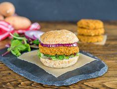 "Veggie & Sweet Potato Veggie Burgers.  oneingredientchef.com.  ""Thrashed Brown"" background created by ericksonwoodworks.com."