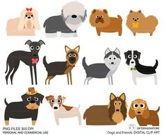 Image of an original illustration done in digital graphic drawing. You will receive 12 Clip art (5.4-9.4 High) PNG and JPEG in Zip files There are Shih Tzu Bearded Collie Chao chao Pomeranian Greyhound German shepherd Husky Border collie Rottweiler Jack Russell Terrier Collie Spaniel cocker PNG files has a transparent background and perfect to use as graphics in most programs. After purchasing a digital file, you'll see a link to the Download page You can use these images personally or...