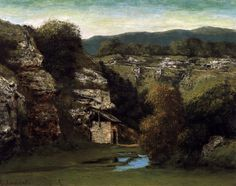 Gustave Courbet: Rocky Landscape near Ornans - Pictify - your social art network Gustave Courbet, Social Art, Rembrandt, France, Oeuvre D'art, Les Oeuvres, 19th Century, Artwork, Mountains