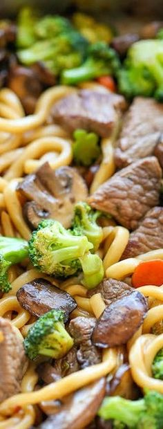 Beef Noodle Stir Fry ~ You will love this easy Asian recipe as it's loaded with such delicious ingredients like: noodles, beef, mushrooms, veggies to your taste and even more tasty aroma with wonderful sauce which contains soy sauce, oyster sauce, brown sugar, ginger and whole lot of different seasonings which makes the dish extremely flavoursome, zesty and full of tastiness.